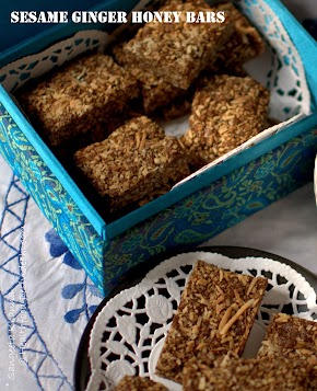 sesame ginger honey bars for makar sankranti ; a festival that celebrates nuts and seeds...