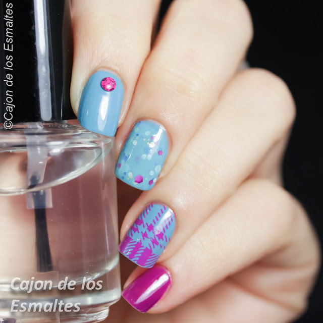 uñas decoradas Estampado escocés con mix&match