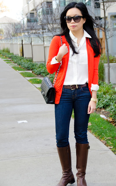 wearing orange, Chanel classic flap, Fall Fashion, J.Crew, riding boots