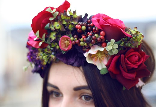 floral crown, flower headwear, rose crown, flower crown, berry, rose, roses and clementines, rose crown, berry crown, floral garland, flower garland, rose garland