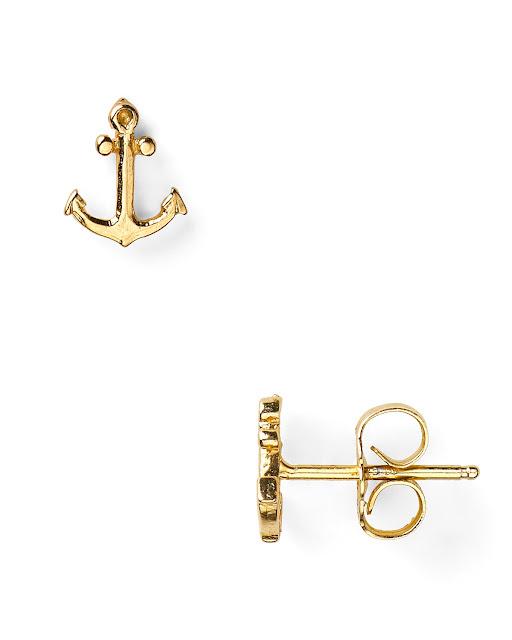 Gold Anchor Earrings