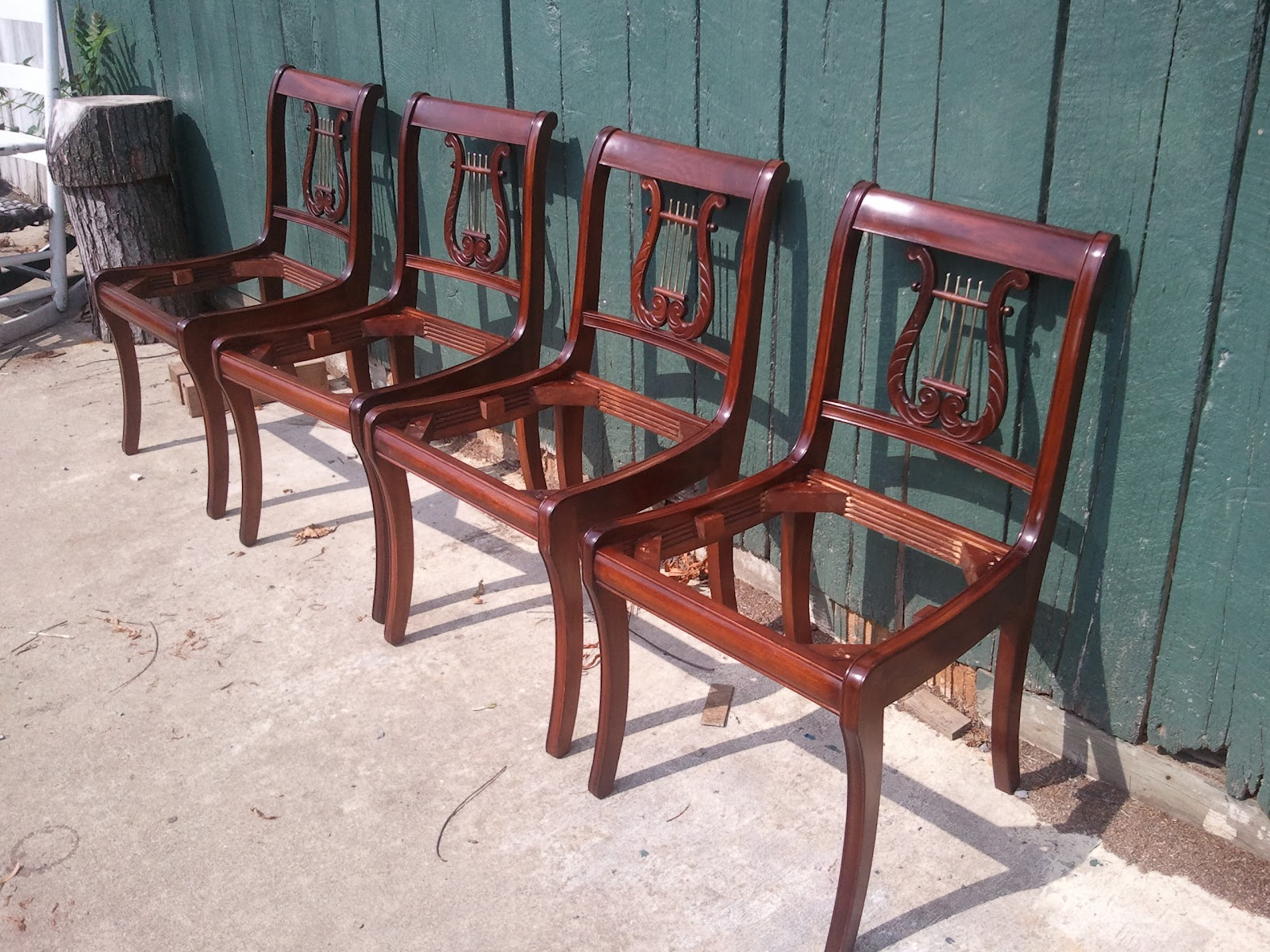 John Mark Power, Antiques Conservator: Reproduction Duncan Phyfe Lyre Back  Chairs (ca. 1930)