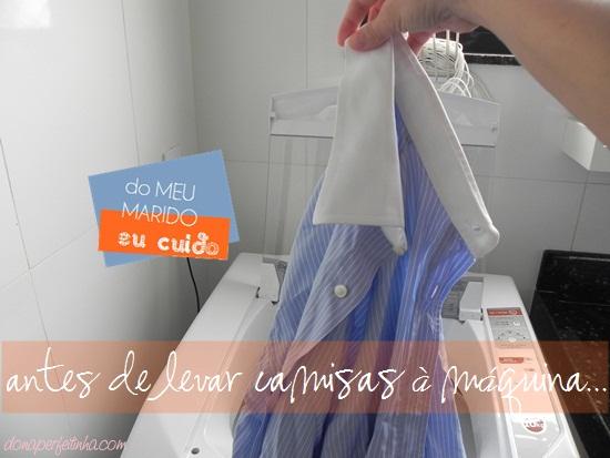 Plástico do colarinho - cuidados ao lavar camisas de botão