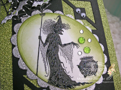 Halloween in green with Lavinia witch stamp detail