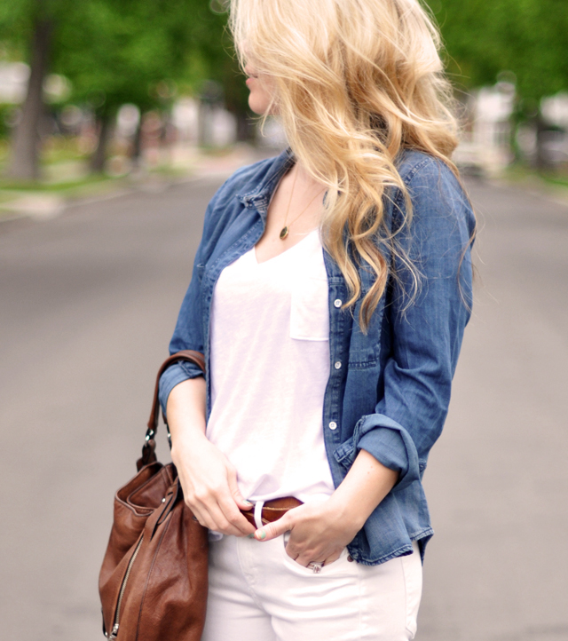 denim chambray with white jeans, madewell