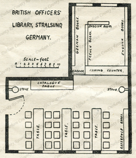 D/DLI 7/773/4 Layout of the library at Stralsund Camp, reprinted from The Library Association Record, vol. XXI, September 1919