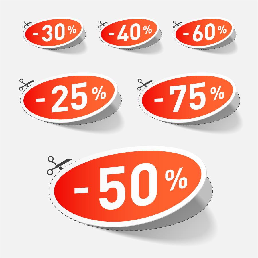 立体的な割引きタグ beautiful vector stickers discount sales イラスト素材