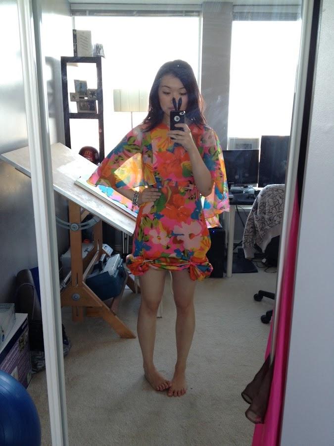 vintage floral cape dress, vintage dress