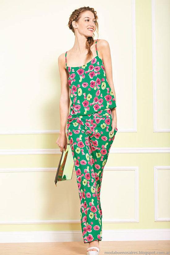 Uma primavera verano 2015, pantalones y blusas estampadas 2015, moda casual 2015.