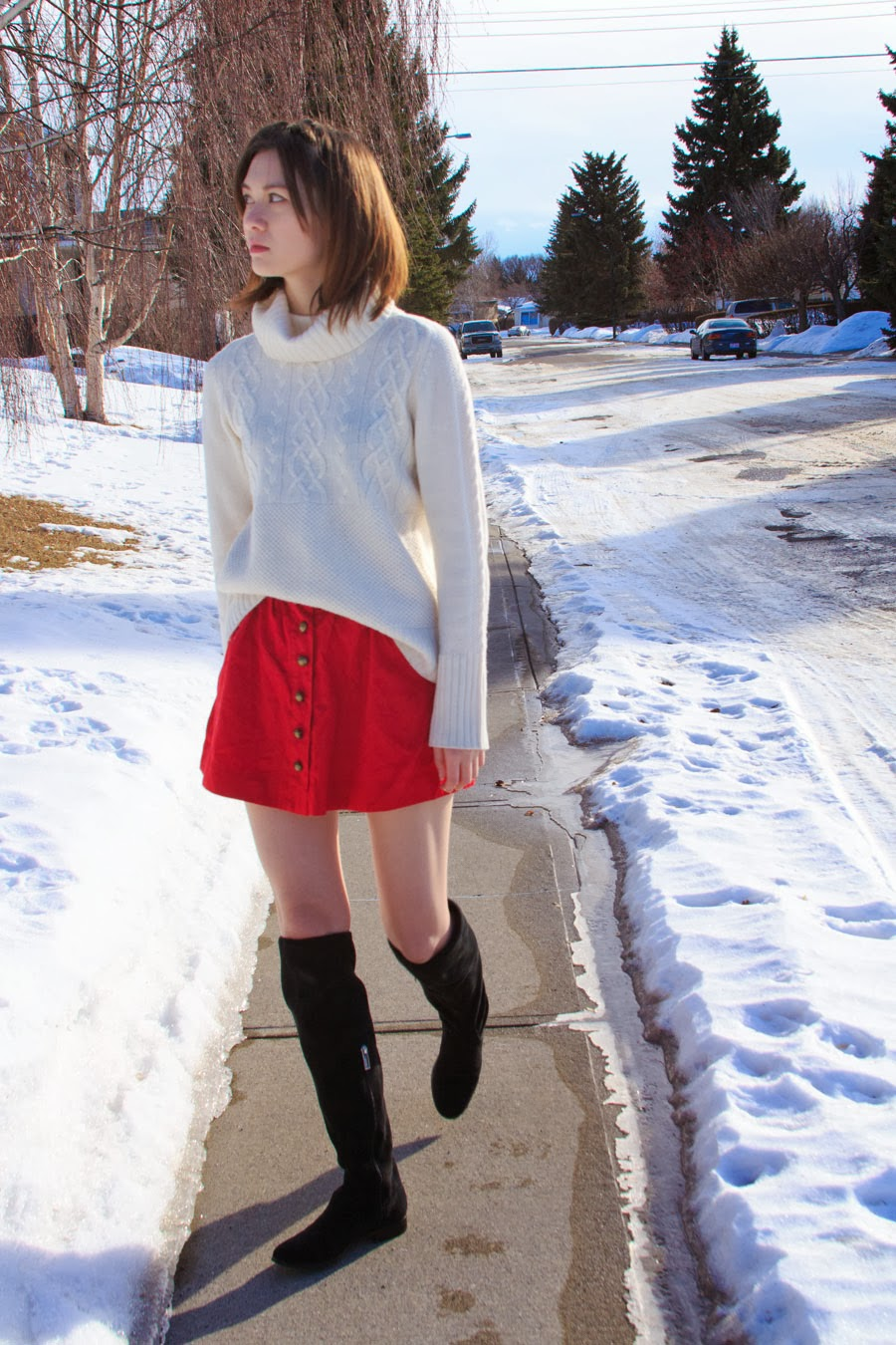 Forever 21, Gap, sweater, red skirt, over the knee boots, Calvin Klein