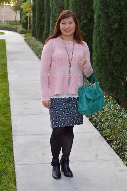 Loft Stirpe Cable Sweater, Loft Animal spot pencil skirt
