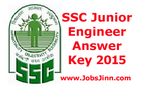 SSC Junior Engineer Answer Key 2015