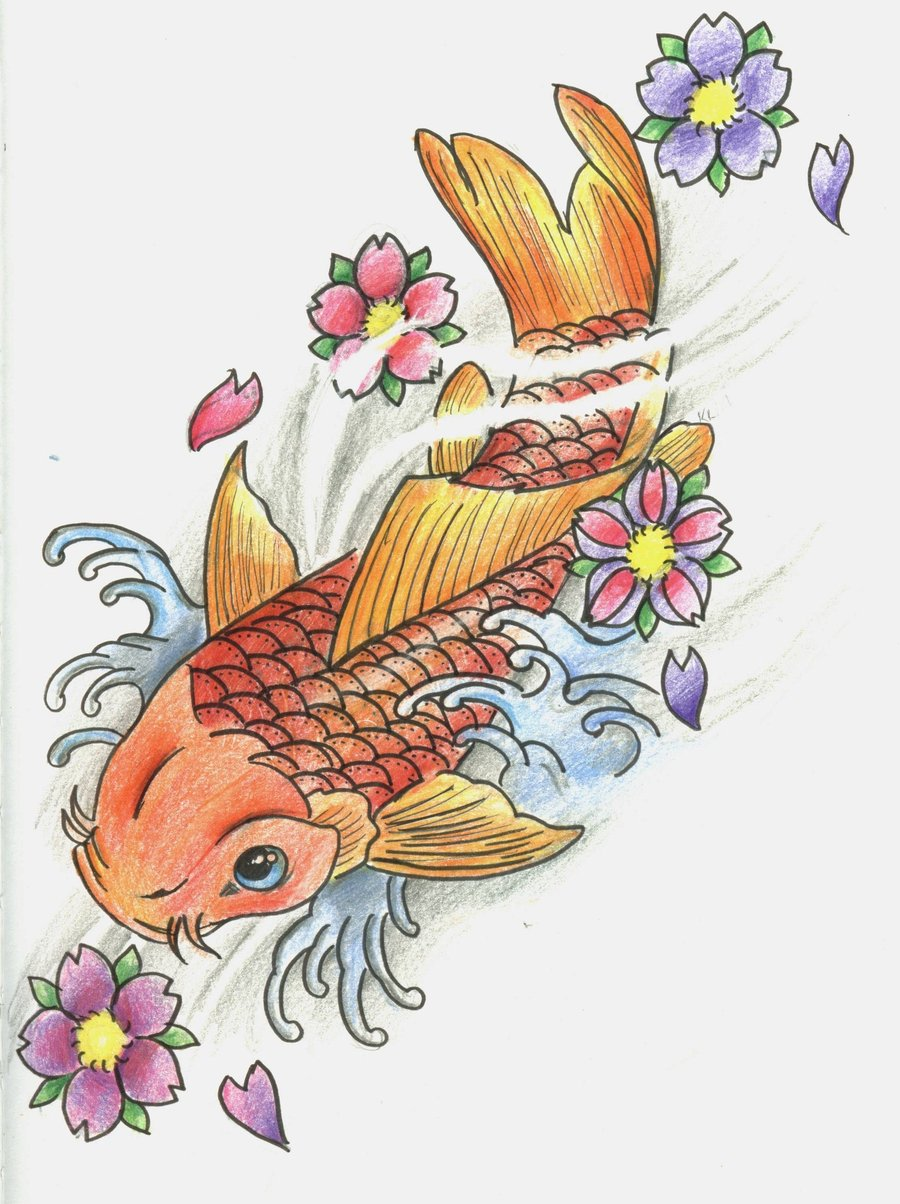Koi fish tattoo designs for girls for Koi fish designs