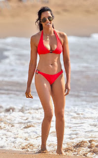 Padma Lakshmi Red Bikini Hawaii
