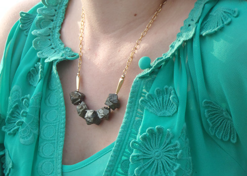 handmade pyrite necklace, fool's gold necklace