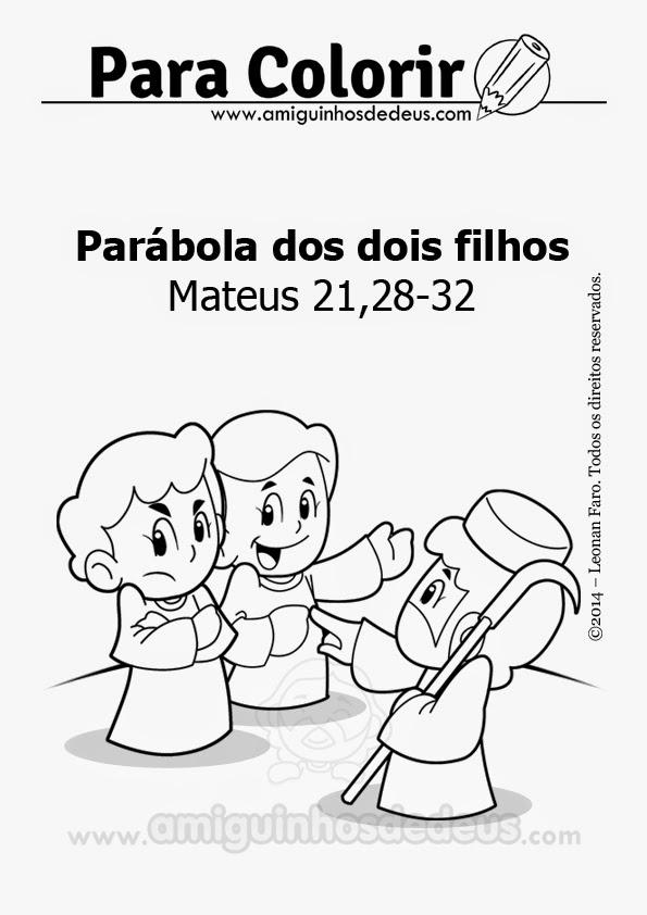 Parábola dos dois filhos desenho para colorir