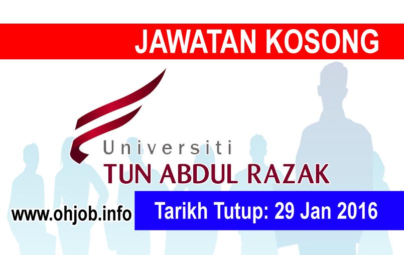 Jawatan Kerja Kosong Universiti Tun Abdul Razak (UNIRAZAK) logo www.ohjob.info januari 2016