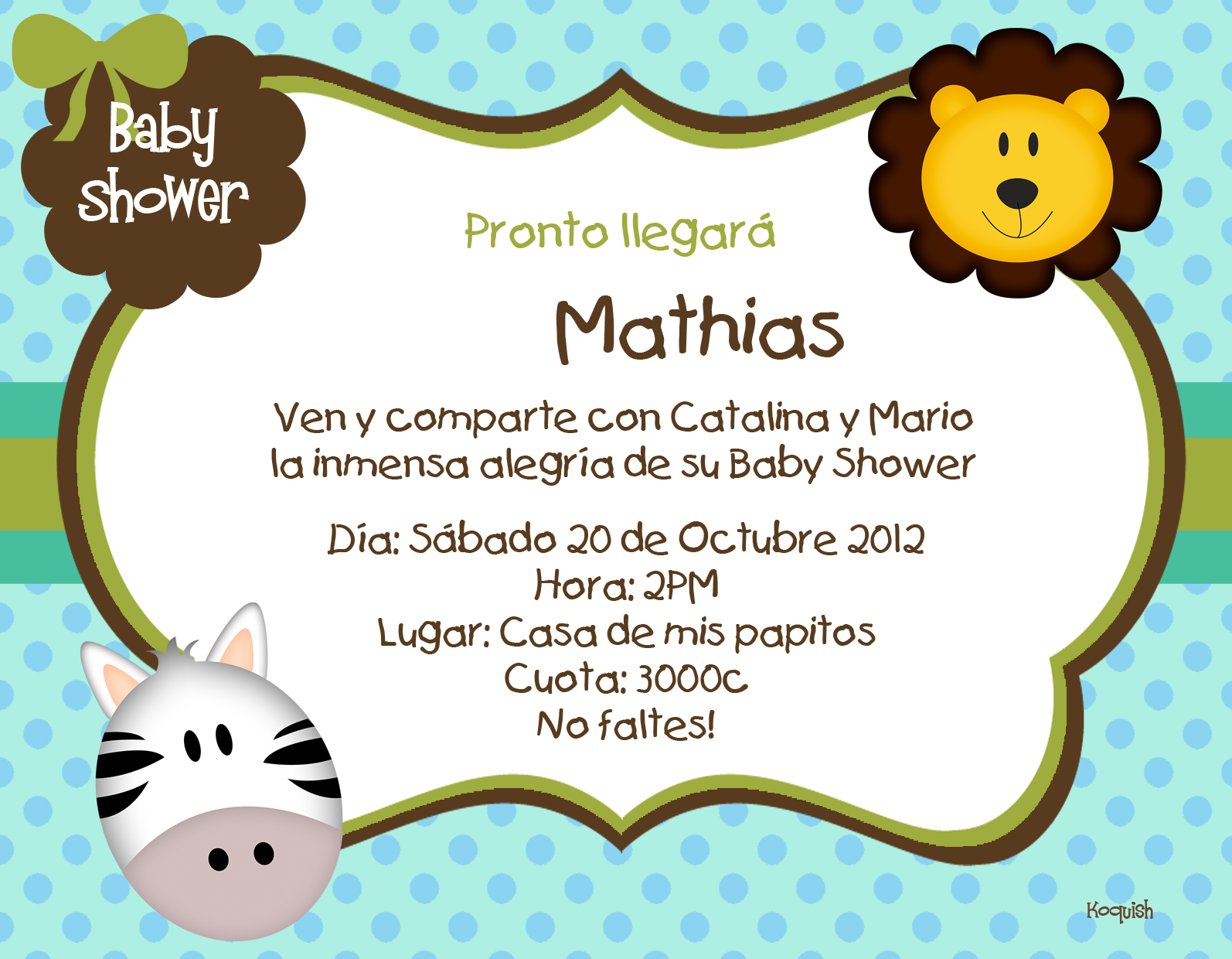 Koquish: Invitaciones Digitales para Baby Shower