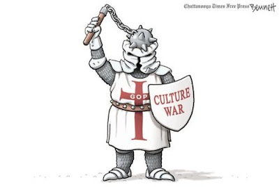 Cartoon by Clay Bennett of an armored Christian crusader -- shield labeled Culture War -- with his morning star bashing in his own head