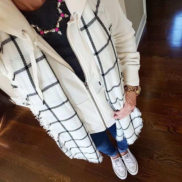 J. Crew Zip Up Hoodie (similar on sale for $20, regular $50!) // Gap Sweater (this year's version) // Merona Scarf - on sale for $12! // Joe's Jeans // Converse Tennis Shoes  // Michael Kors Watch (similar for $16) // J. Crew Factory Necklace - in store (similar online - 50% off!)