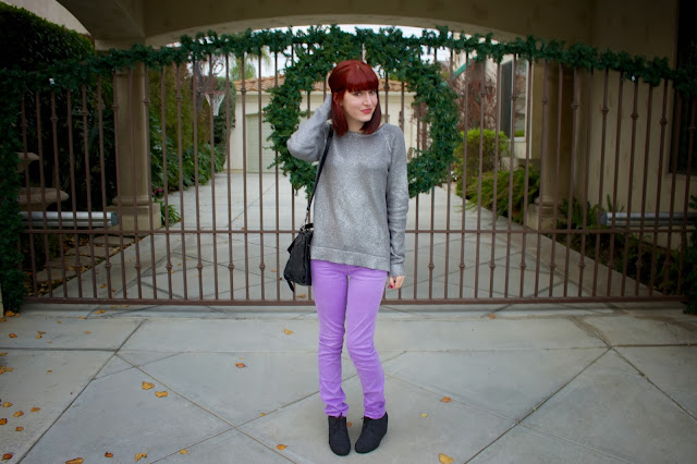 gap, metallic sweater, purple pants, proenza schouler, red hair, TOMS desert wedge, too faced holiday cosmetics, christmas fashion