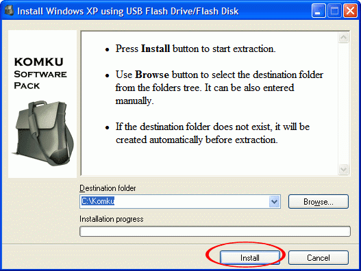 Komku-SP-usb.exe installation