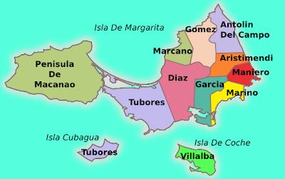 Mapa del estado Nueva Esparta Venezuela