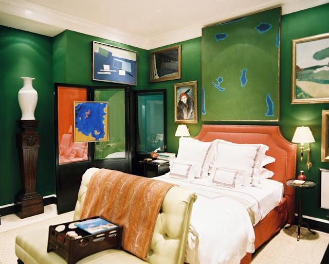 Green walls, eclectic design, bold, interiors