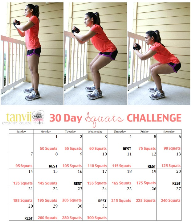 30 Day Squats Challenge | Tanvii.com - Indian Fashion, Lifestyle and ...