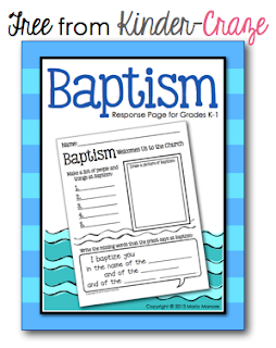 FREE Baptism activity for Grades K-1