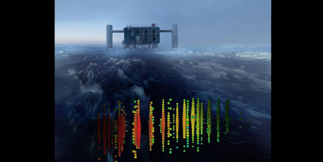 This photo illustration shows one of the highest-energy neutrino events of this study superimposed on a view of the IceCube Lab (ICL) at the South Pole. Evidence of the neutrinos heralds a new form of astronomy.  Courtesy of IceCube Collaboration