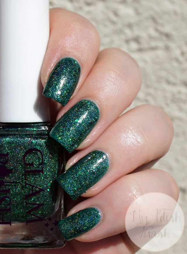 green scattered holo polish