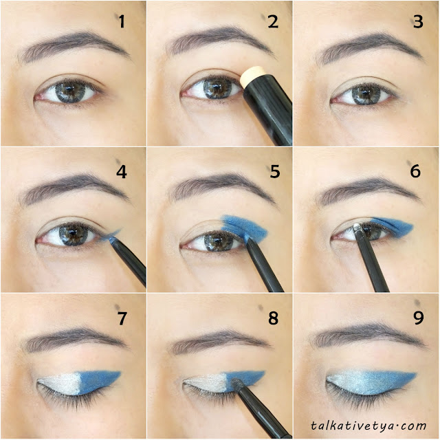 tutorial ombre blue sky eyeshadow featuring Revlon Colorstay steps