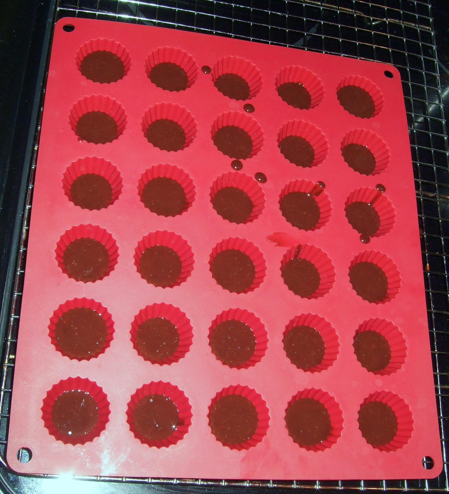Silicone mold with chocolate.