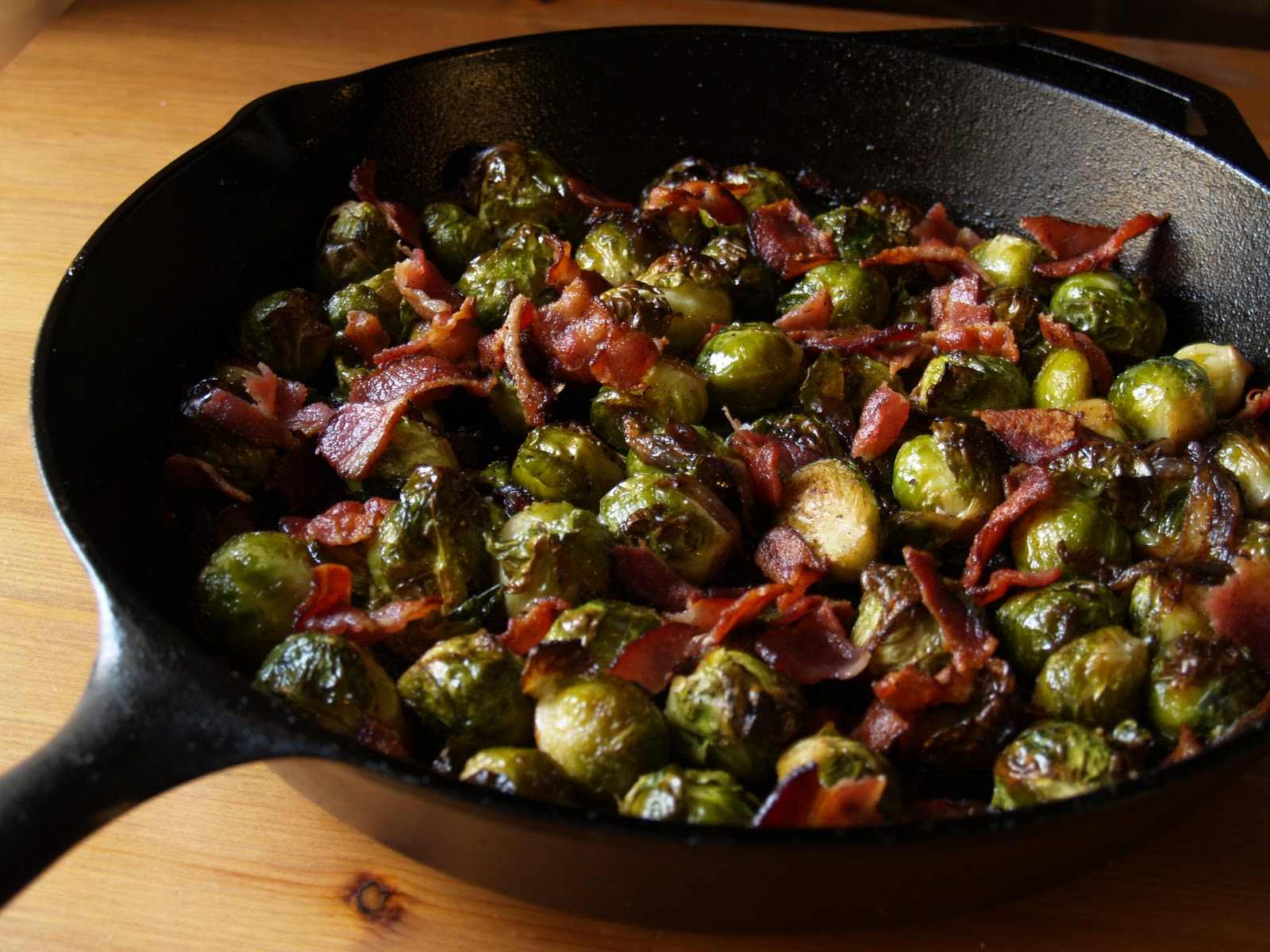 Persimmon and Peach: Brussels Sprouts with Bacon