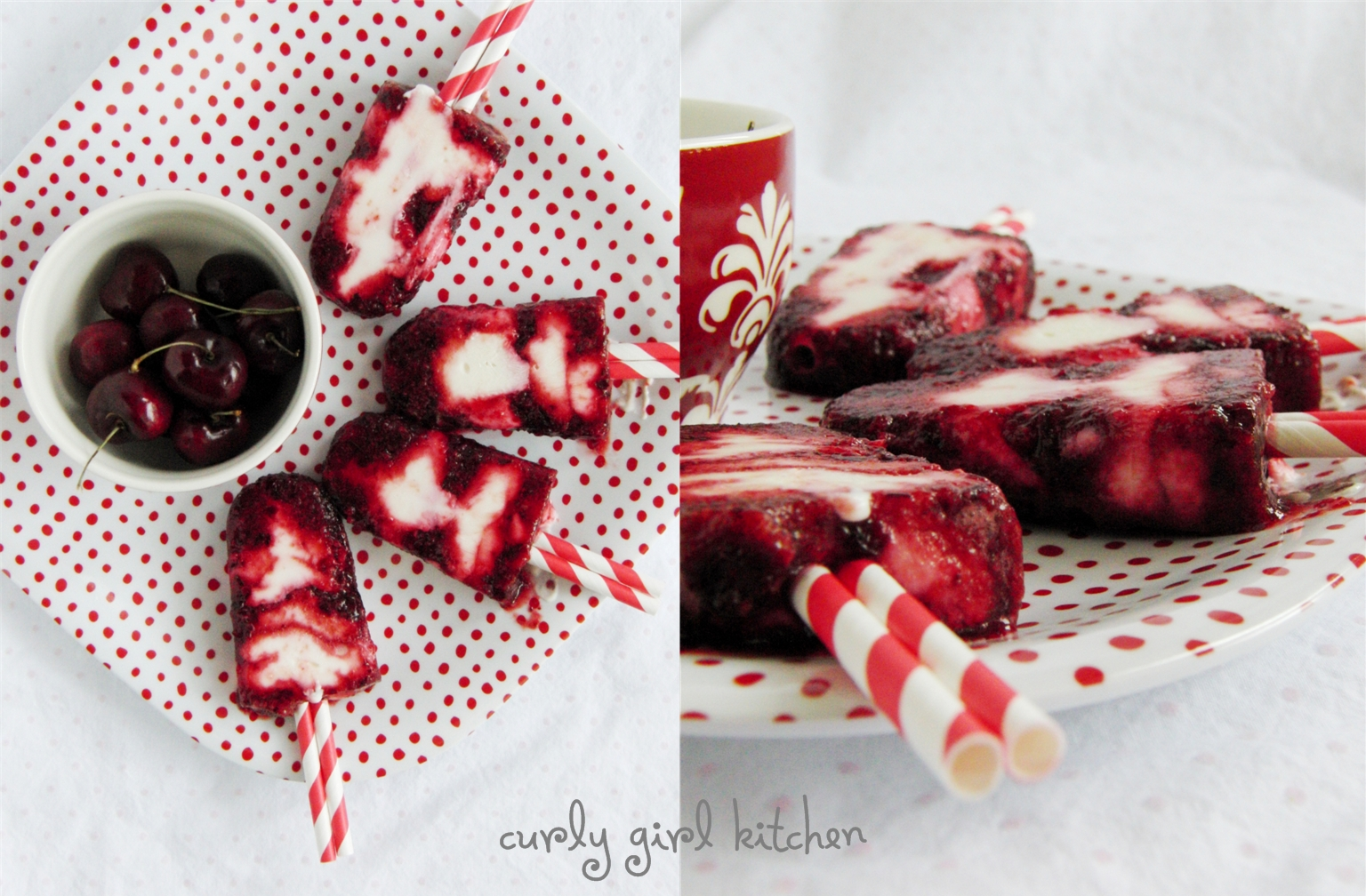 Sweet Cherry Yogurt Popsicles