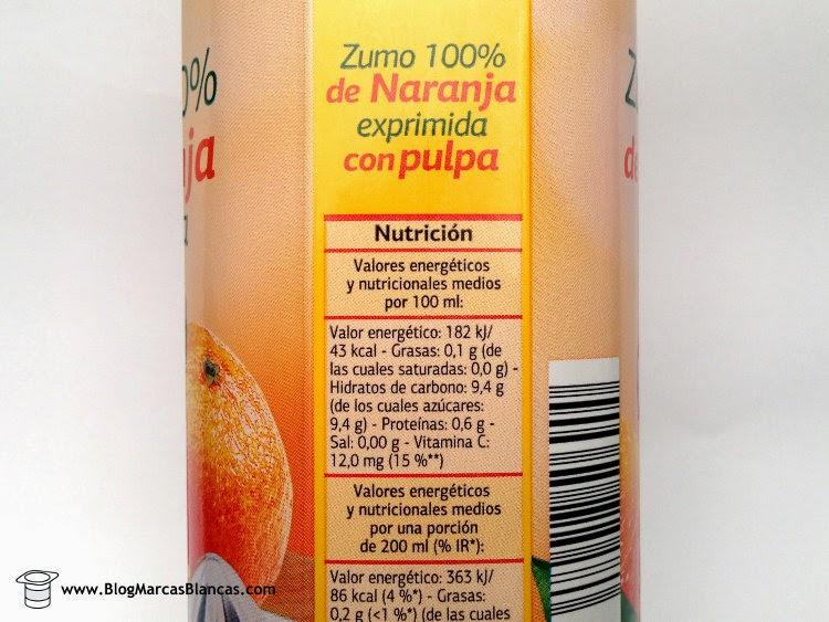 Valores nutricionales del zumo 100% de naranja exprimida con pulpa DIA.