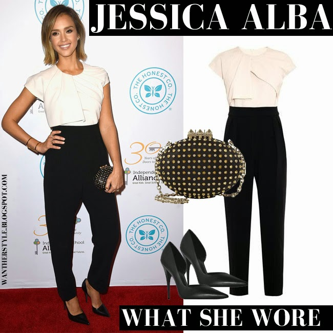 752cf4cce3b WHAT SHE WORE  Jessica Alba in black and white jumpsuit