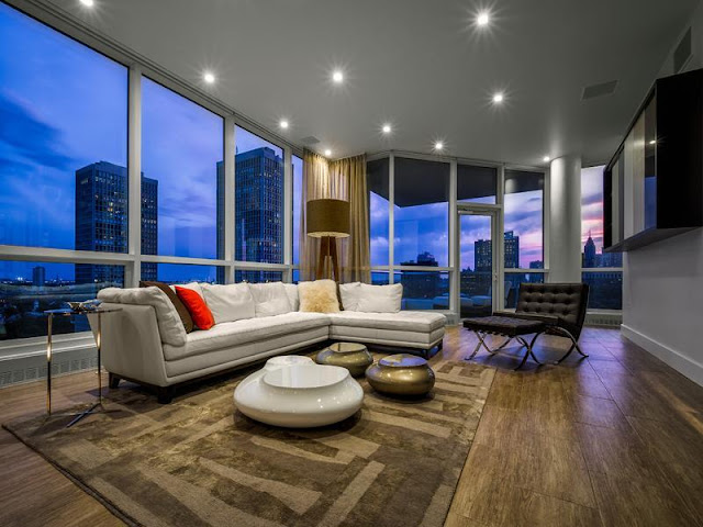 Photo of white furniture in the living room of Philadelphia penthouse
