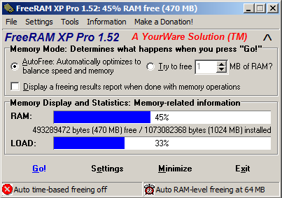 FreeRAM XP Pro 1.52 - Interface Window