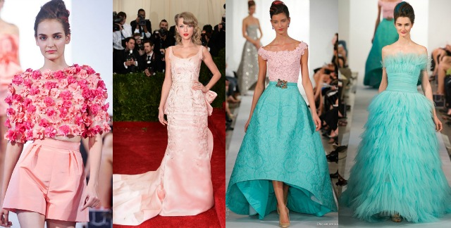 best, oscar de la renta, floral top and pink shorts, taylor swift met gala, pink dress, off the shoulder pink and blue, kerry washington, strapless aqua blue feathered dress