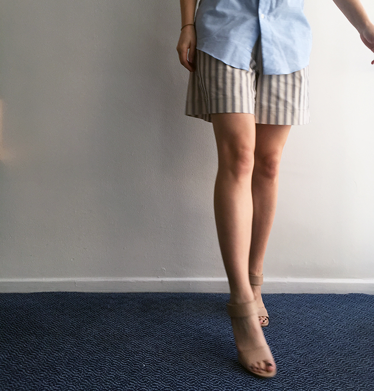 Ann Taylor striped bermuda shorts, Vince nude heels