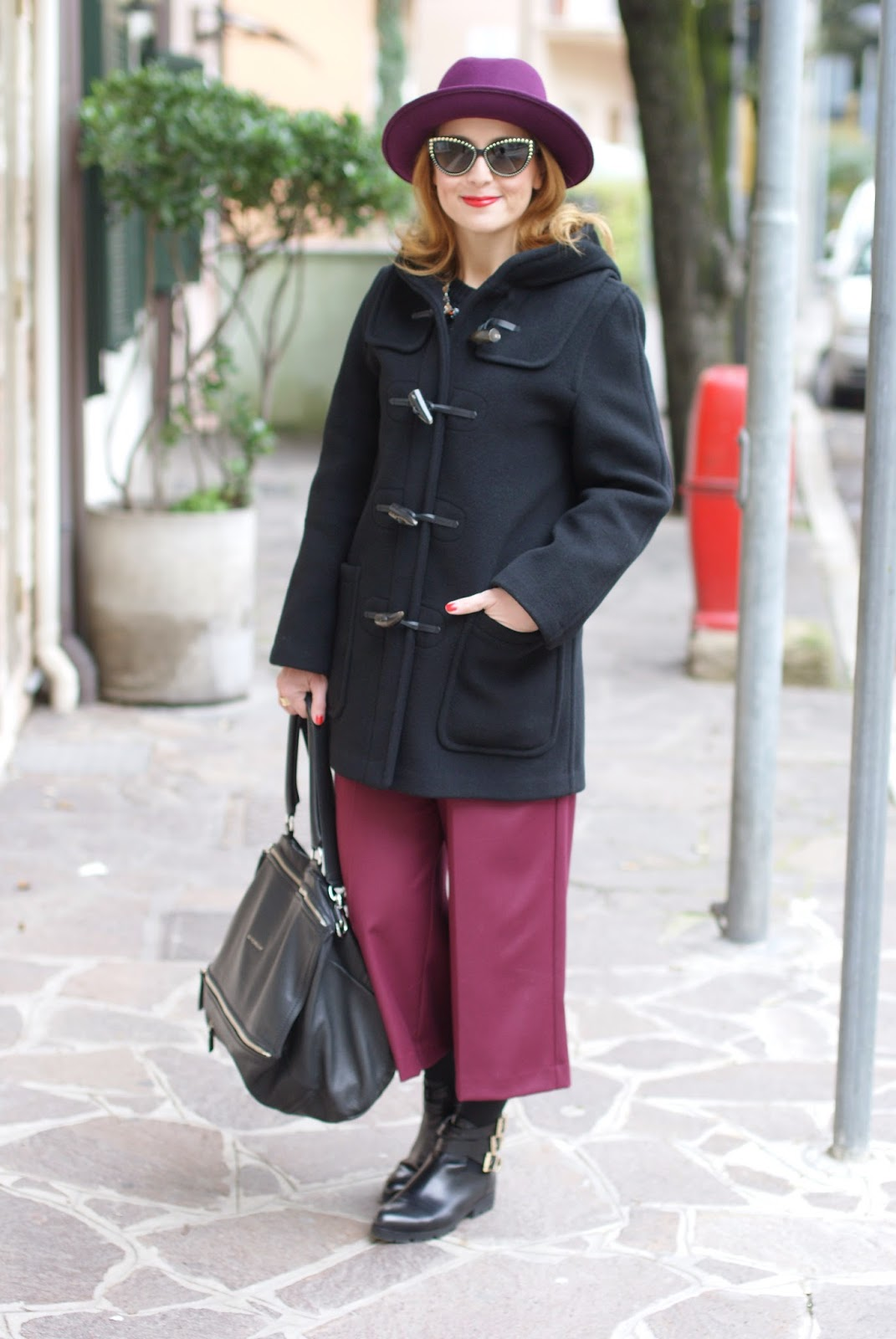 Gloverall duffle coat, Ribbed knit sweater, Givenchy Pandora bag, Ecua-Andino hat, Fashion and Cookies, fashion blogger