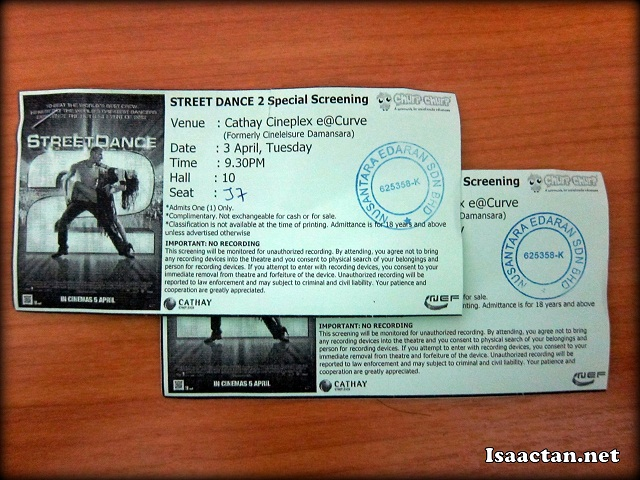 Street Dance 2 Premiere Tickets