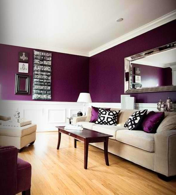 Popular Living Room Paint Color Ideas, Purple Walls And White Furniture