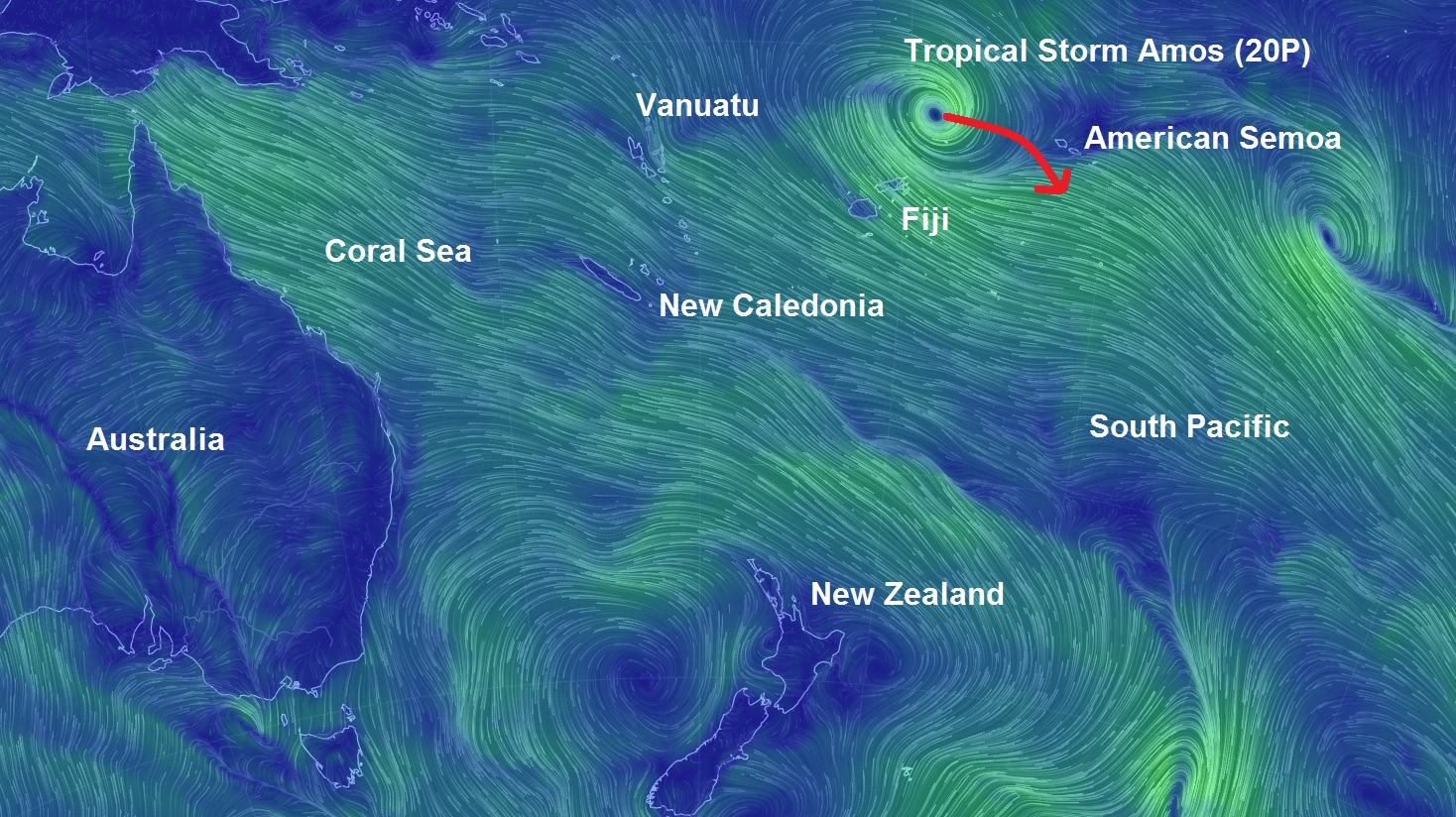 Tropical cyclone 20P, Amos the fourth tropical cyclone to hit Fiji area in just over a month