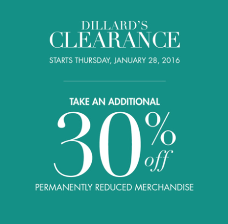 Great Sale going on right now, we have put most of our furniture on clearance. If you need furniture, now is the time to come in. Now on Weds. Dillard's card holders will get an additional 30% off all clearance items, and on Thursday (May 1, ) the general public will also get an addition 30% off all clearance .