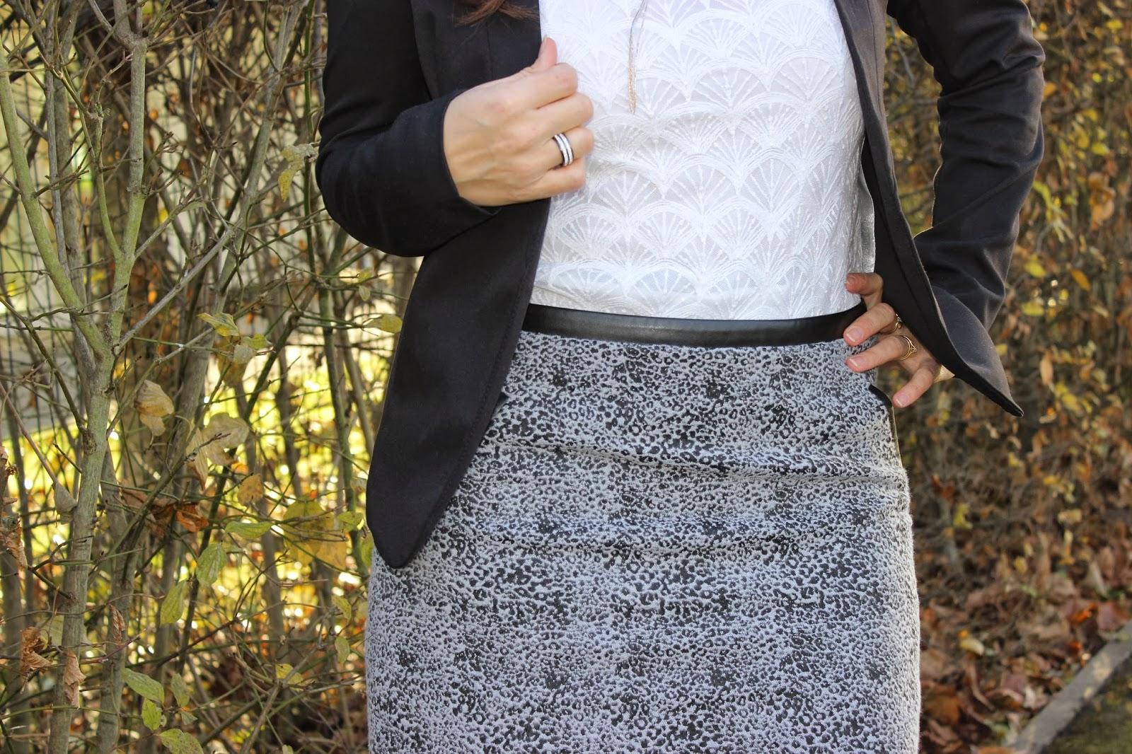 Veste noire Persunmall jupe Leopard grise naf naf