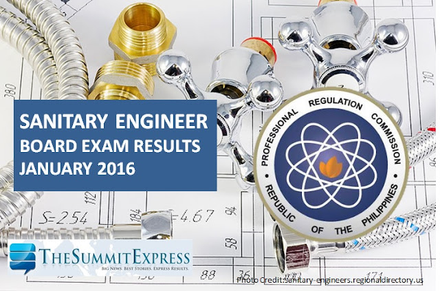 January 2016 Sanitary Engineer board exam results