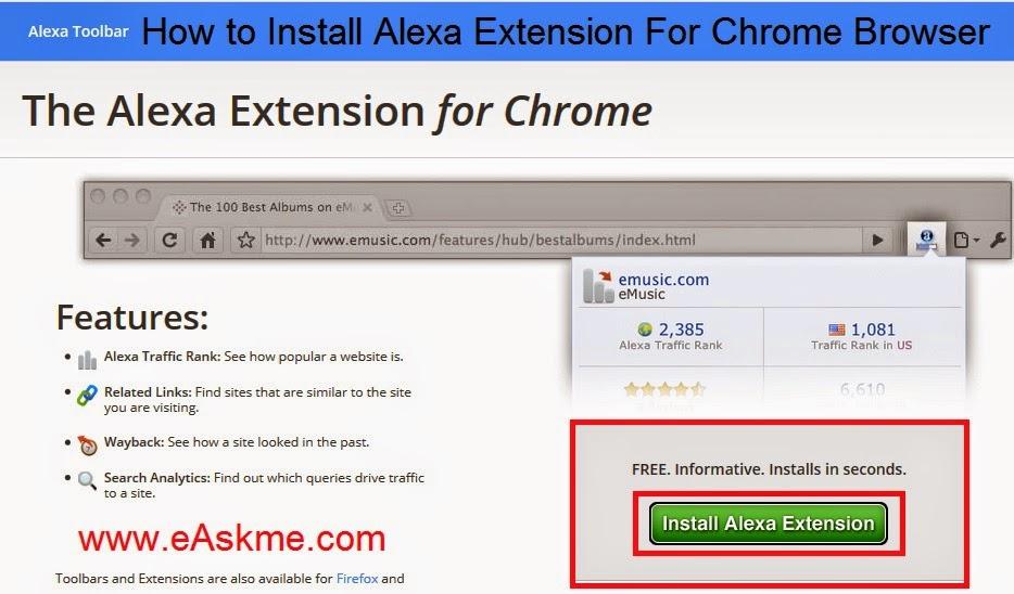 How to Install Alexa Toolbar on Chrome Browser : eAskme